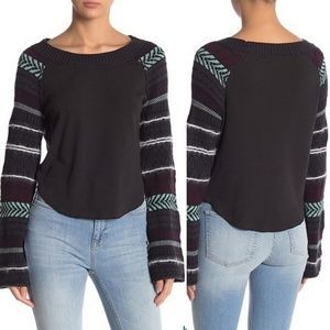 Free People Fairground Thermal Black Top
